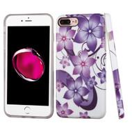 Premium Graphic Rubberized Protective Gel Case for iPhone 8 Plus / 7 Plus - Purple Hibiscus Flower Romance