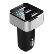 3 USB Ports Smart Car Charger with Current and Voltage LED Display- Silver