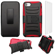 Advanced Armor Hybrid Kickstand Case with Holster and Tempered Glass Screen Protector for iPhone 8 / 7 - Black Red