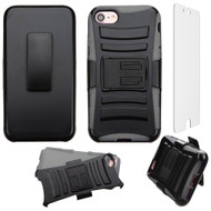 Advanced Armor Hybrid Kickstand Case with Holster and Tempered Glass Screen Protector for iPhone 8 / 7 - Black Grey