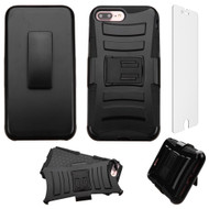 Advanced Armor Hybrid Kickstand Case with Holster and Tempered Glass Screen Protector for iPhone 7 Plus - Black
