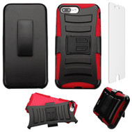 Advanced Armor Hybrid Kickstand Case with Holster and Tempered Glass Screen Protector for iPhone 8 Plus / 7 Plus - Red