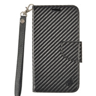 *Sale* Leather Wallet Shell Case for Alcatel Stellar / TRU - Carbon Fiber