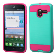 Brushed Hybrid Armor Case for Alcatel Stellar / TRU - Teal Hot Pink