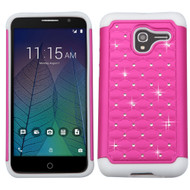 TotalDefense Diamond Hybrid Case for Alcatel Stellar / TRU - Hot Pink White