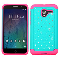 TotalDefense Diamond Hybrid Case for Alcatel Stellar / TRU - Teal Hot Pink