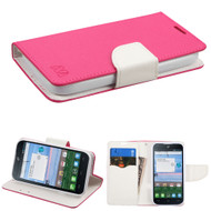 *Sale* Diary Leather Wallet Case for Alcatel Stellar / TRU - Hot Pink