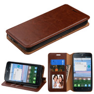 Book-Style Leather Folio Case for Alcatel Stellar / TRU - Brown