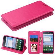 Book-Style Leather Folio Case for Alcatel Stellar / TRU - Hot Pink