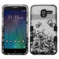 Military Grade Certified TUFF Image Hybrid Armor Case for Alcatel Stellar / TRU - Lace Flowers Black