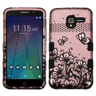 *Sale* Military Grade TUFF Image Hybrid Armor Case for Alcatel Stellar / TRU - Lace Flowers Rose Gold