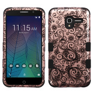 Military Grade Certified TUFF Image Hybrid Armor Case for Alcatel Stellar / TRU - Leaf Clover Rose Gold