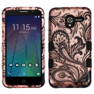 Military Grade Certified TUFF Image Hybrid Armor Case for Alcatel Stellar / TRU - Phoenix Flower Rose Gold