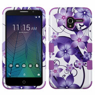 Military Grade Certified TUFF Image Hybrid Armor Case for Alcatel Stellar / TRU - Purple Hibiscus