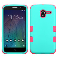 Military Grade TUFF Hybrid Armor Case for Alcatel Stellar / TRU - Teal Hot Pink