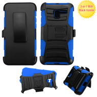 *Sale* Advanced Armor Hybrid Kickstand Case with Holster for Alcatel Stellar / TRU - Black Blue