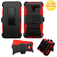*Sale* Advanced Armor Hybrid Kickstand Case with Holster for Alcatel Stellar / TRU - Black Red