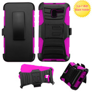 *Sale* Advanced Armor Hybrid Kickstand Case with Holster for Alcatel Stellar / TRU - Black Hot Pink