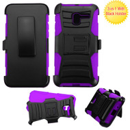 *Sale* Advanced Armor Hybrid Kickstand Case with Holster for Alcatel Stellar / TRU - Black Purple