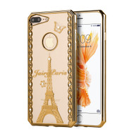 *Sale* Electroplating Graphic TPU Case with Rhinestones for iPhone 7 Plus - Fairy Paris Gold
