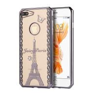 Electroplating Graphic TPU Case with Rhinestones for iPhone 8 Plus / 7 Plus - Fairy Paris Gunmetal