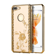 *Sale* Electroplating Graphic TPU Case with Rhinestones for iPhone 7 Plus - Rose Garden Gold