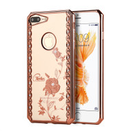 *SALE* Electroplating Graphic TPU Case with Rhinestones for iPhone 7 Plus - Rose Garden Rose Gold