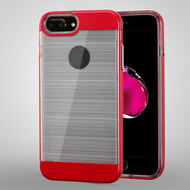 Flexsilk Bumper Frame Transparent Hybrid Case for iPhone 8 Plus / 7 Plus / 6S Plus / 6 Plus - Red