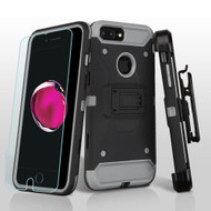 3-IN-1 Kinetic Hybrid Armor Case with Holster and Tempered Glass Screen Protector for iPhone 7 Plus - Black Grey