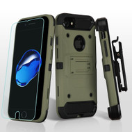 *Sale* 3-IN-1 Kinetic Hybrid Armor Case with Holster and Tempered Glass Screen Protector for iPhone 8 / 7 - Forest Green