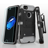*SALE* 3-IN-1 Kinetic Hybrid Armor Case with Holster and Tempered Glass Screen Protector for iPhone 7 - Black Grey