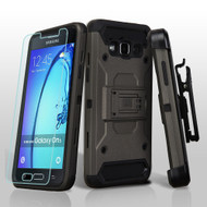 3-IN-1 Kinetic Hybrid Armor Case with Holster and Tempered Glass Screen Protector for Samsung Galaxy On5 - Grey
