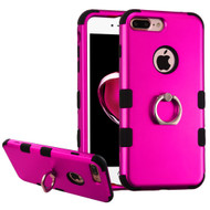 Military Grade TUFF Hybrid Armor Case with Ring Holder for iPhone 7 Plus - Hot Pink