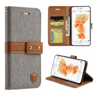 Union Fabric Leather Wallet Case for iPhone 7 - Grey