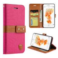 Union Fabric Leather Wallet Case for iPhone 7 - Hot Pink
