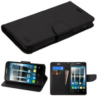 *Sale* Diary Leather Wallet Case for Alcatel Fierce 4 / OneTouch Allura / Pop 4 Plus - Black