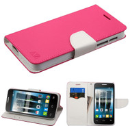 *Sale* Diary Leather Wallet Case for Alcatel Fierce 4 / OneTouch Allura / Pop 4 Plus - Hot Pink