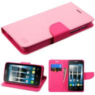 *Sale* Diary Leather Wallet Case for Alcatel Fierce 4 / OneTouch Allura / Pop 4 Plus - Pink