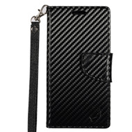 *Sale* Leather Wallet Shell Case for Alcatel Fierce 4 / OneTouch Allura / Pop 4 Plus - Carbon Fiber
