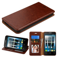 Book-Style Leather Folio Case for Alcatel Fierce 4 / OneTouch Allura / Pop 4 Plus - Brown