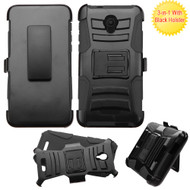 Advanced Armor Hybrid Kickstand Case with Holster for Alcatel Fierce 4 / OneTouch Allura / Pop 4 Plus - Black