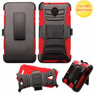 *Sale* Advanced Armor Hybrid Kickstand Case with Holster for Alcatel Fierce 4 / OneTouch Allura / Pop 4 Plus - Black Red