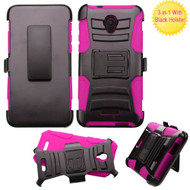 Advanced Armor Hybrid Kickstand Case with Holster for Alcatel Fierce 4 / OneTouch Allura / Pop 4 Plus - Black Hot Pink