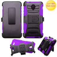 Advanced Armor Hybrid Kickstand Case with Holster for Alcatel Fierce 4 / OneTouch Allura / Pop 4 Plus - Black Purple