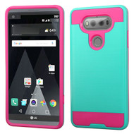 Brushed Hybrid Armor Case for LG V20 - Teal Hot Pink