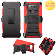 Advanced Armor Hybrid Kickstand Case with Holster for LG V20 - Black Red