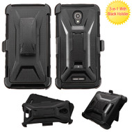 Tough Armor Hybrid Kickstand Case with Holster for Alcatel Fierce 4 / OneTouch Allura / Pop 4 Plus - Black