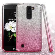 Full Glitter Hybrid Protective Case for LG K7 / K8 / Escape 3 / Treasure LTE / Tribute 5 - Gradient Pink