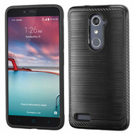 Brushed Multi-Layer Hybrid Armor Case for ZTE Zmax Pro / Grand X Max 2 / Imperial Max / Max Duo 4G - Black