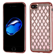 Desire Bling Bling Diamond Electroplated TPU Case for iPhone 8 / 7 - Rhombus Rose Gold